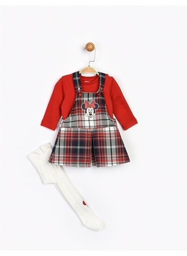 Minnie Mouse  Etekli Salopet Takım 16094 Kırmızı